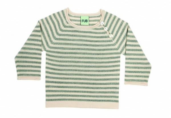 FUB Pullover creme-grau geringelt