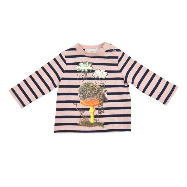Sweatshirt mit Igelprint gestreift rosa-navy