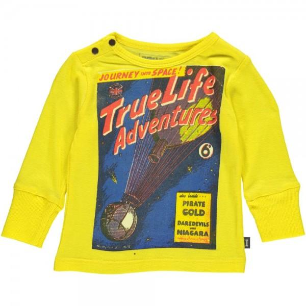 """Longsleeve mit Druck """"True Life Adventures"""" crazy yellow"""