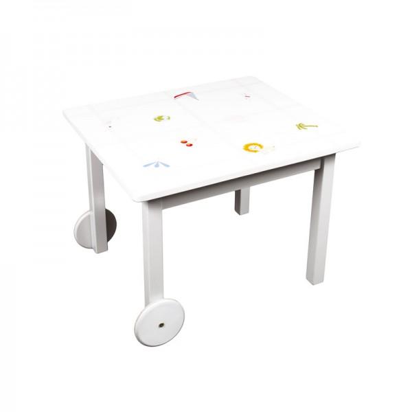 Kindertisch auf Rädern, 65x75cm Höhe 55cm Tischbeine Farbe: weiß, bemalt