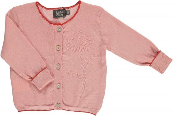 Strickjacke Bess mit Blumenintarsie light pink