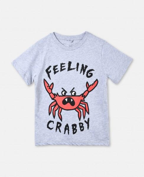 """T-Shirt Arlow mit Schriftzug """"Feeling Crabby"""" Grau"""