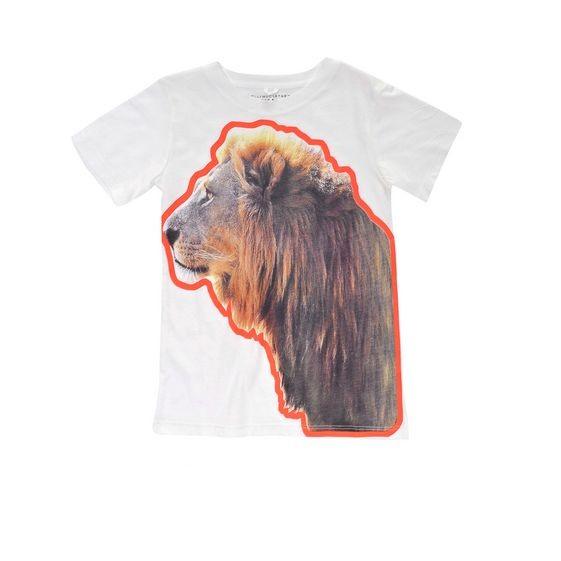 T-Shirt Arlo mit Löwenprint, weiss