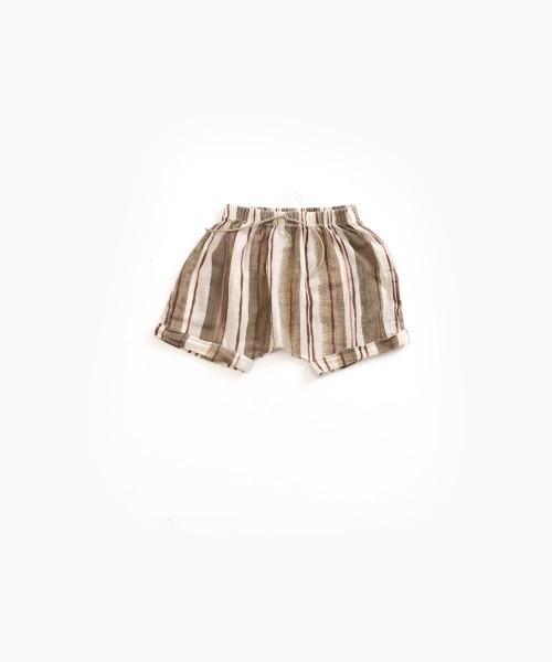 Gestreifte Shorts aus Baumwollvoile Algae