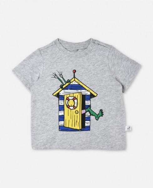 T-Shirt Chuckle mit Strandhaus Grau