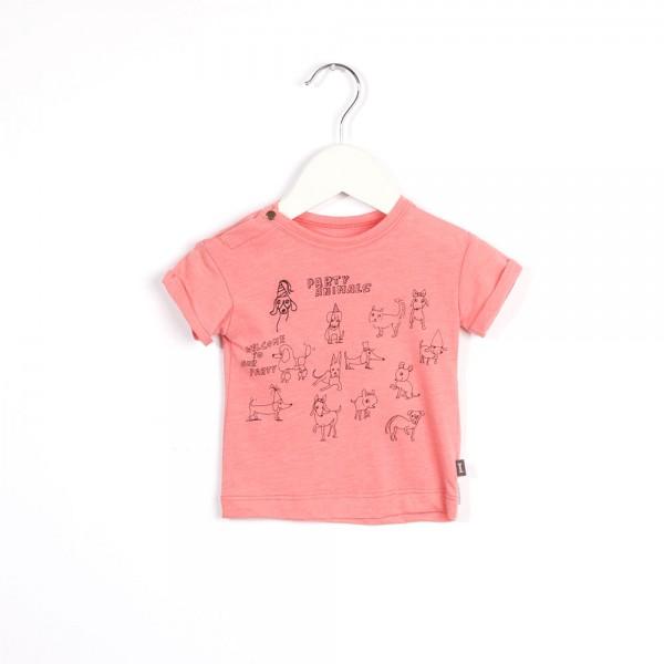 T-Shirt mit Animaldruck Party Pink