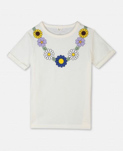 T-Shirt mit Blumenhalskette Ecru