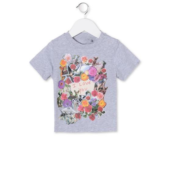 T-Shirt Chuckle mit Blumenprint Grau