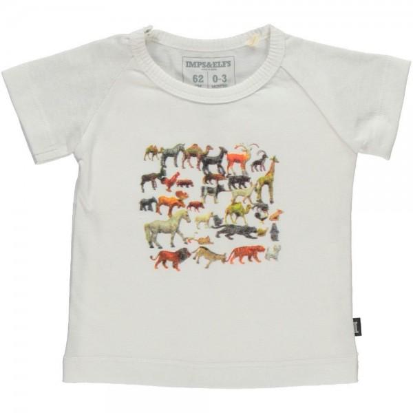 T-Shirt mit Tierdruck weiss