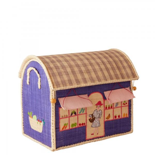 Rice Small Raffia Aufbewahrungshaus Shop Gr. S Blau