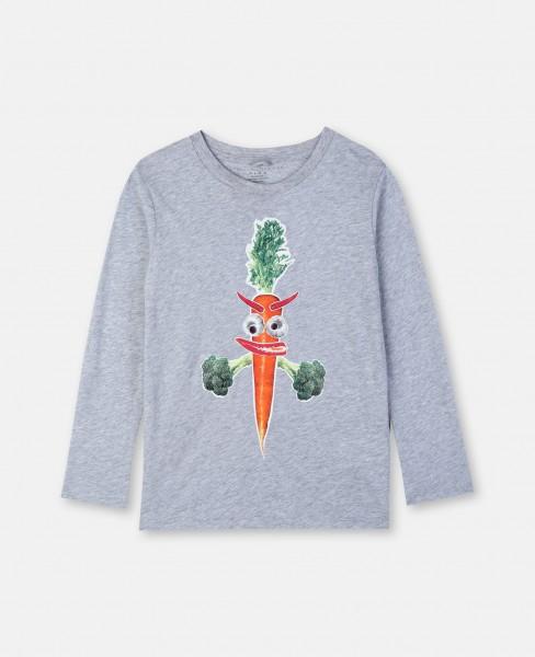 Langarmshirt mit Karottendruck Grau