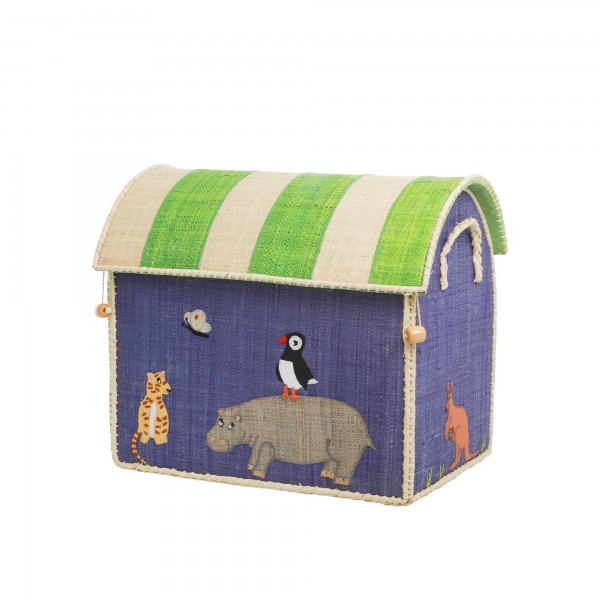 Rice Small Raffia Aufbewahrungshaus Animal Gr. S Aqua