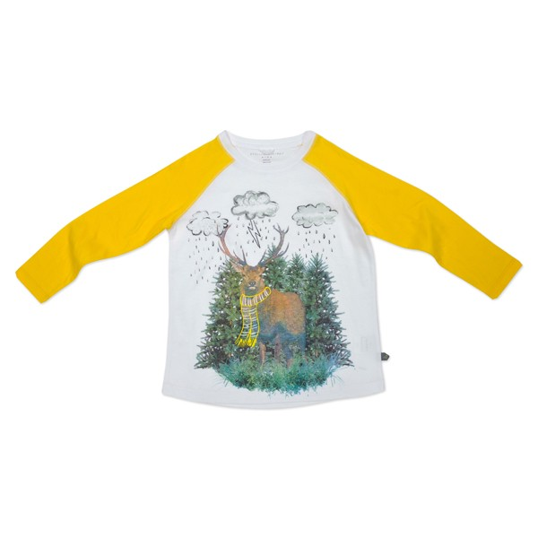 Langarmshirt mit Hirschdruck Gelb-Weiss