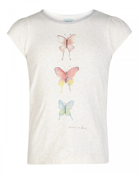 T-Shirt Alesa mit Schmetterlingsdruck Antique White