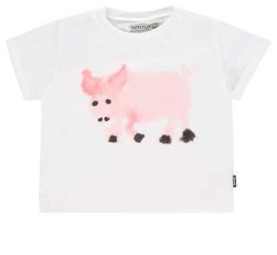 T-Shirt mit Schweinchenmotiv von Van Mierlo Weiss