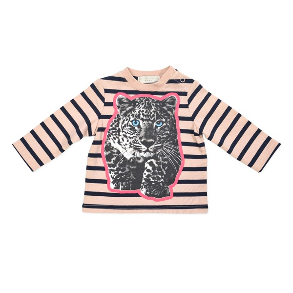Sweatshirt mit Leopardenprint gestreift rosa-navy
