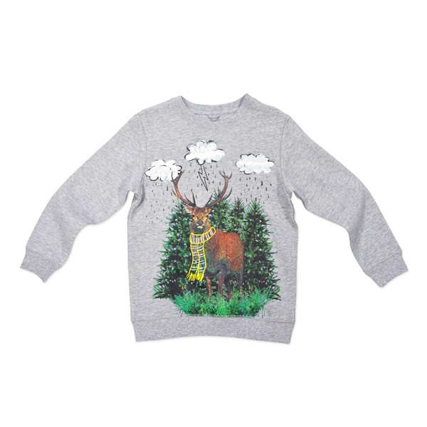 Sweatshirt mit Hirschprint Kieselgrau