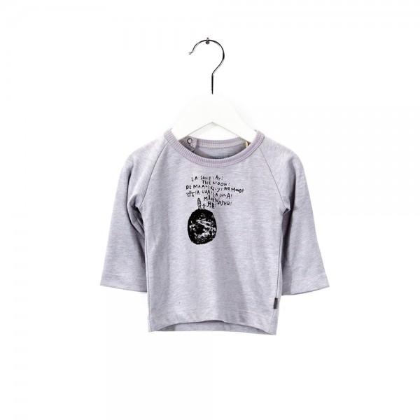 Langarmshirt mit Monddruck Snow Grey