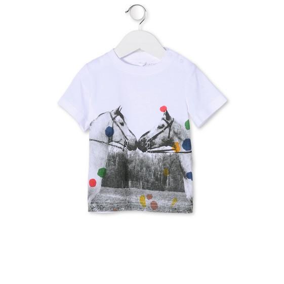 T-Shirt Chuckle mit Pferdeprint Weiss