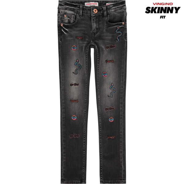 Vingino Jeans Amia Embroidery Black Vintage