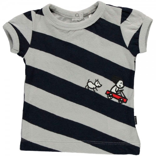 T-Shirt gestreift night blue/lazy grey