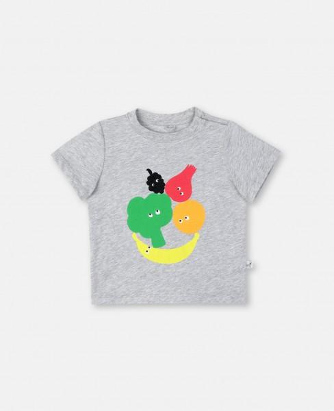 T-Shirt bedruckt mit Früchten & Gemüse Grau