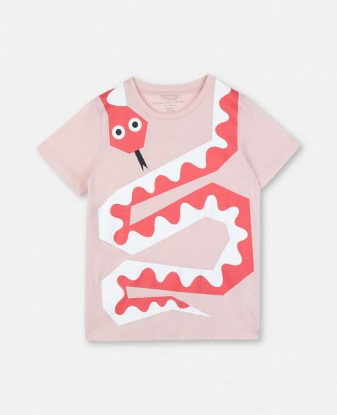 T-Shirt mit Schlangenprint Rosa