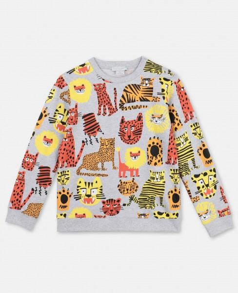 Stella McCartney Baumwollsweatshirt mit Wildkatzen-Print