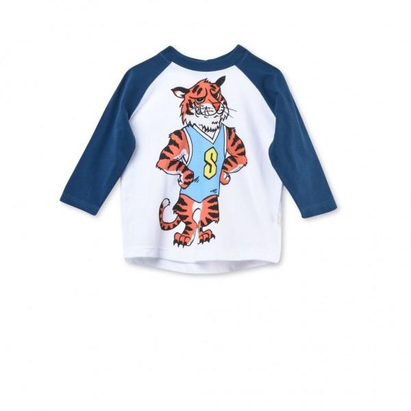 Langarmshirt Max mit Tiger-Print Weiß