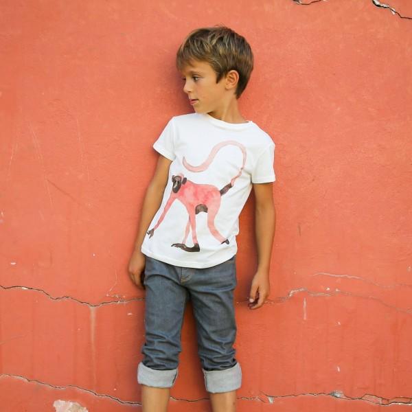 T-Shirt mit Lemurprint Farbe Weiß