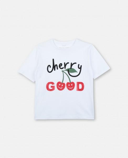 "T-Shirt mit ""Cherry Good"" Schriftzug Weiß"