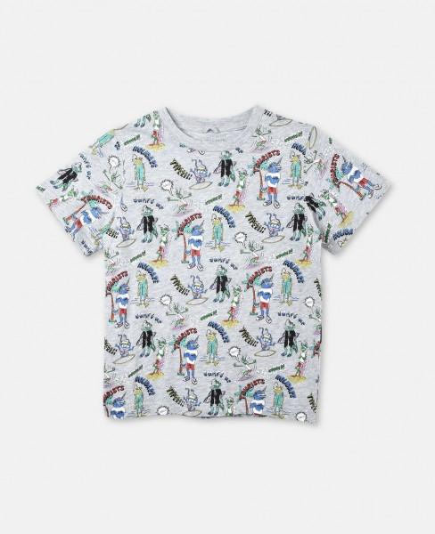 "T-Shirt Arlo mit ""Tourists""-Print Grau"