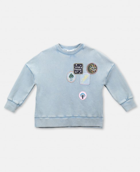 Sweatshirt mit Badges Hellblau