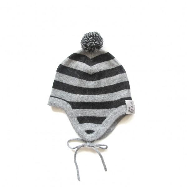 Kaschmirmütze mit Ohrenklappen Ringel Anthra/Grey