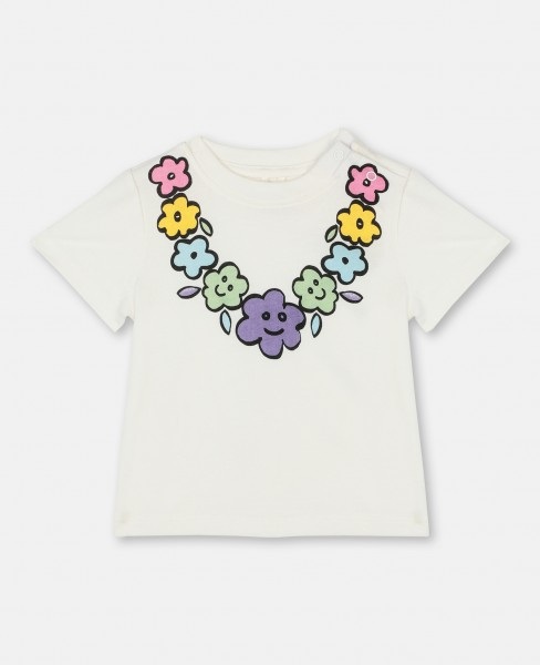 T-Shirt mit Flower Necklace-Print Weiss