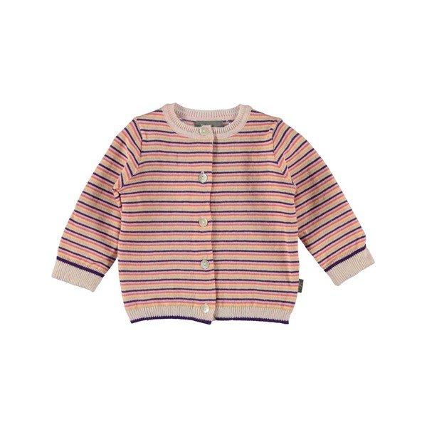 Strickjacke Bonnie gestreift Rosa-Beere