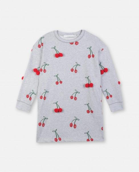 Sweatshirtkleid mit Kirschenprint Grau