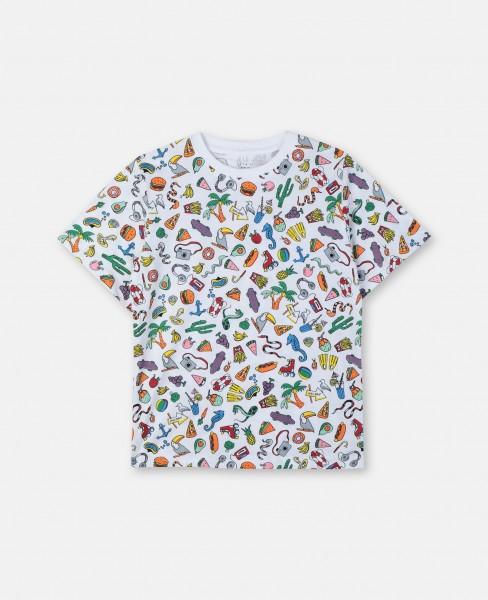 T-Shirt bedruckt mit Toys und Food Weiß
