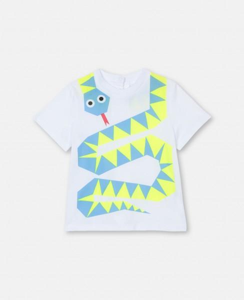 T-Shirt mit Schlangenprint Weiß