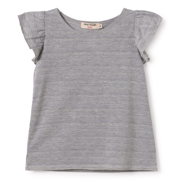 T-Shirt mit Volants Grau Meliert