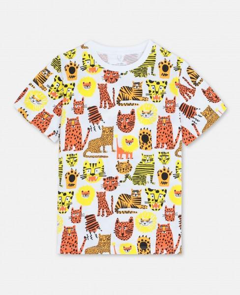 Stella McCartney T-Shirt mit Wildkatzen Print