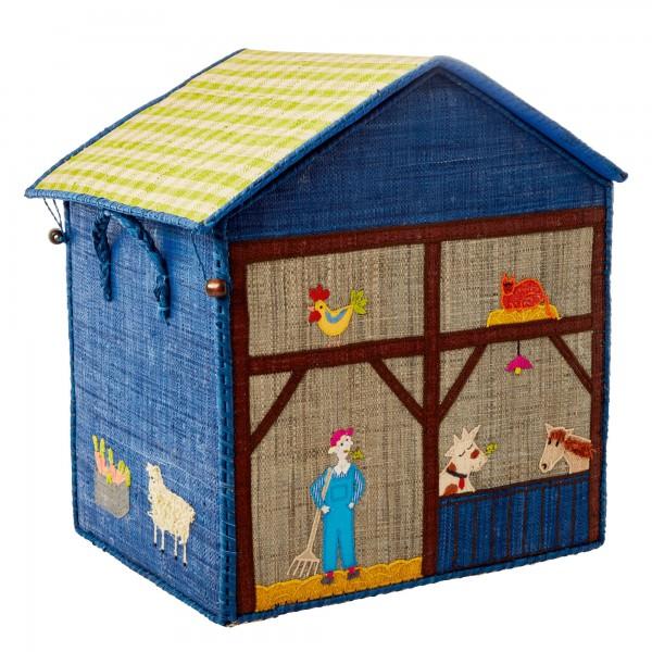 Rice Large Raffia Aufbewahrungshaus Farm Gr. L Blau