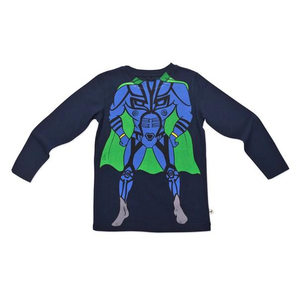 Langarmshirt mit Superherodruck Mitternachtsblau