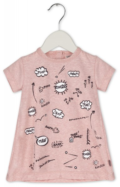 T-Shirtkleid mit Comicmotiven Rosa