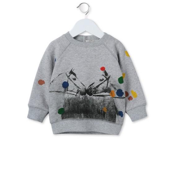 Sweatshirt Billy mit Pferdedruck Grau