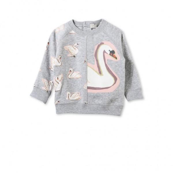 Sweatshirt Betty Baby mit Schwanenprint Grau
