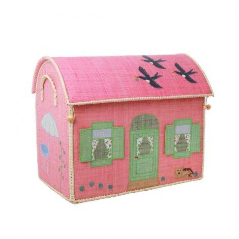 Rice Medium Raffia Aufbewahrungshaus House Gr. M Pink