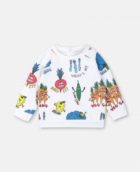 Sweatshirt mit Veggy Print Weiß