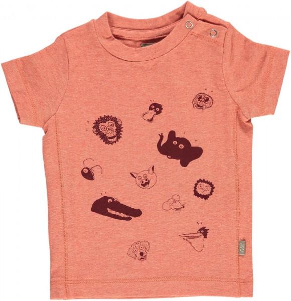 T-Shirt Bieb mit Tierdruck orange meliert