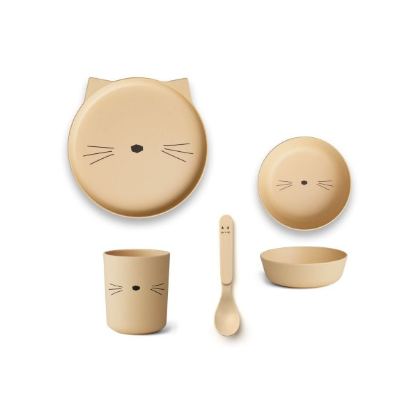 Geschirr-Set aus Bambus Cat Smoothie Yellow